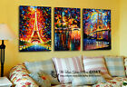 Set Of 3 Abstract Stretched Canvas Prints Framed Wall Art Decor Eiffel Tower