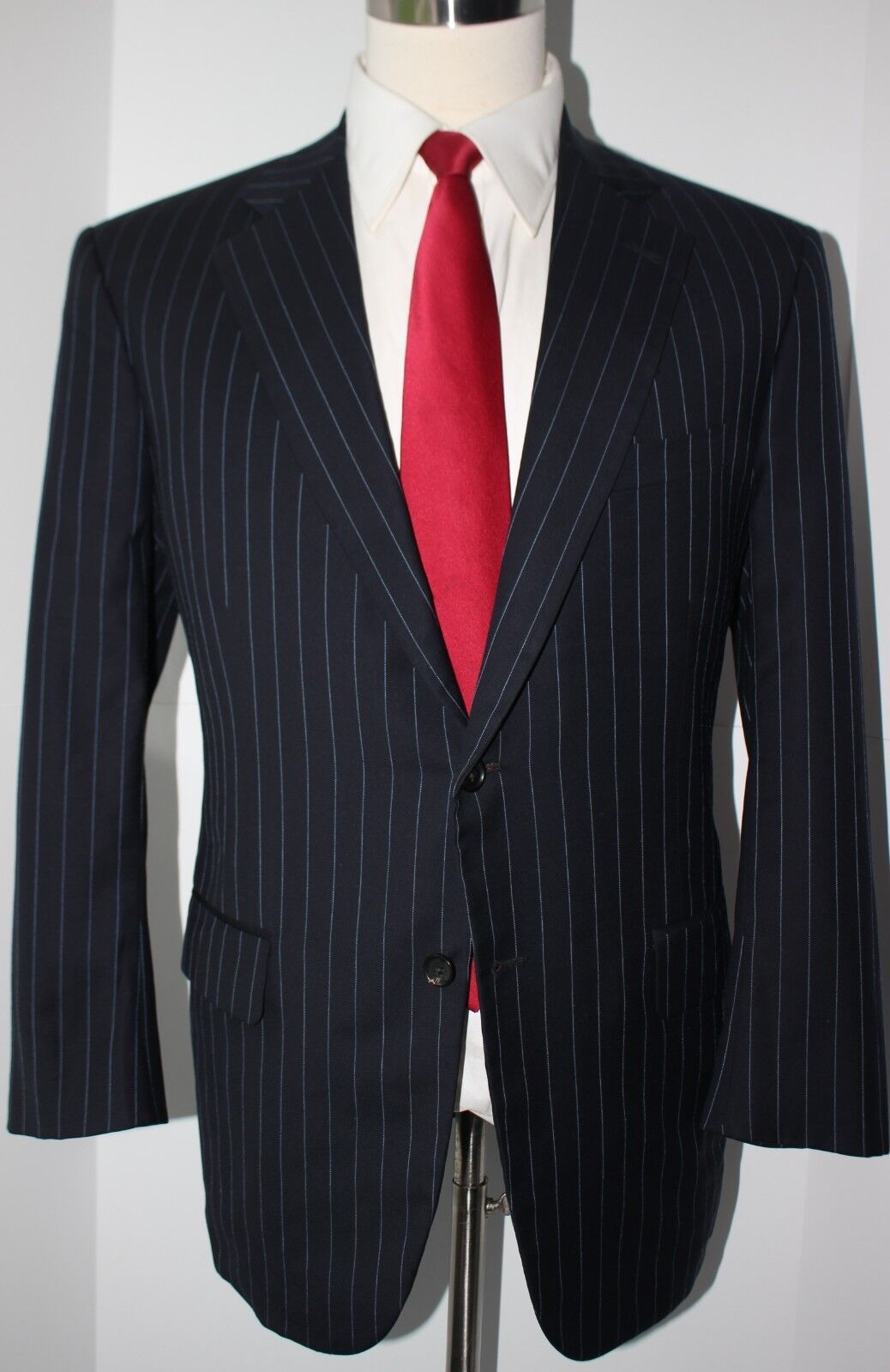 Brooks Brothers Golden Fleece Blau Striped 2 Button Wool Suit 41 R 35 30 Pants