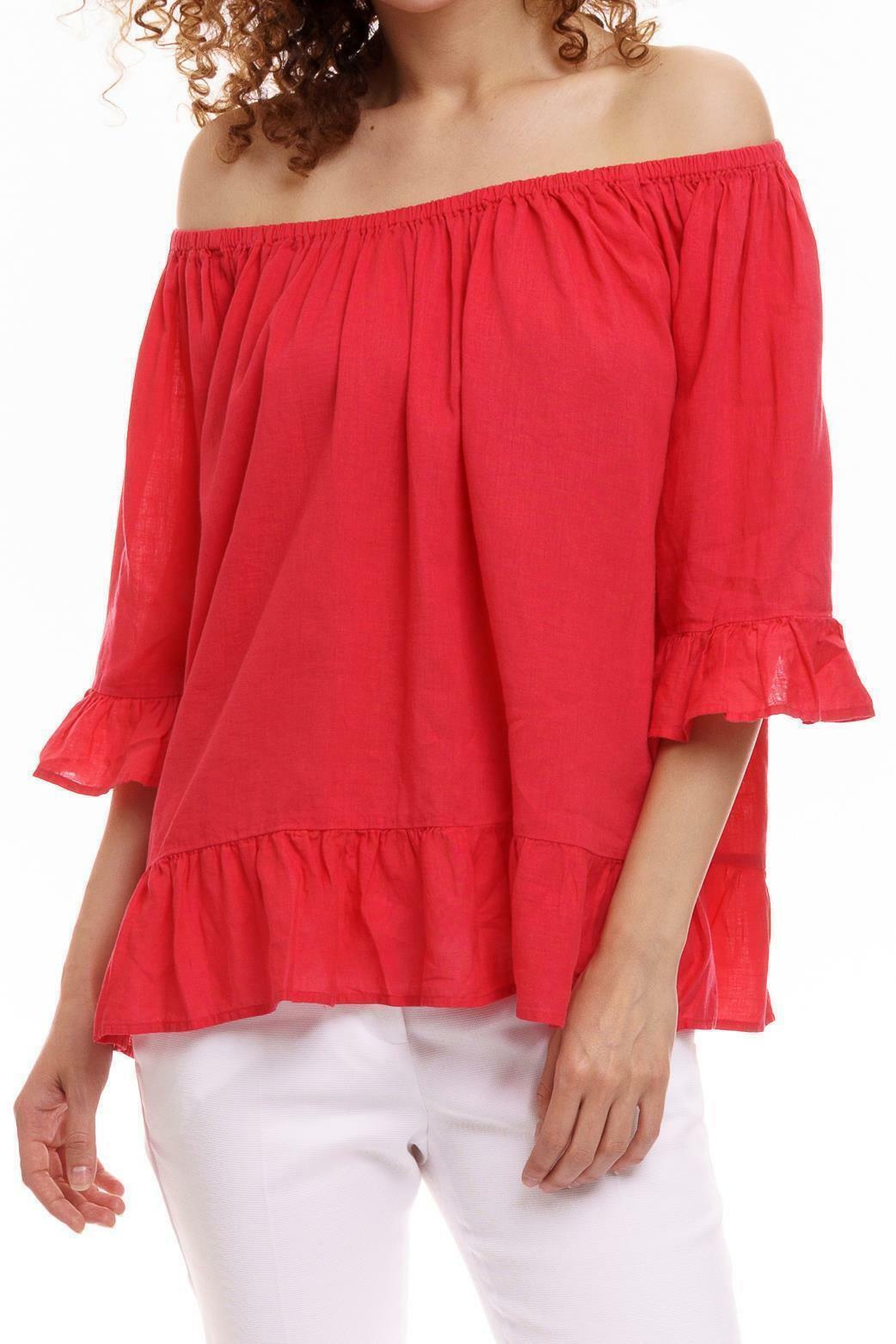 Witty Knitters - Ruffle Shirt Damen Rosa Blause Oberteil Tunika kurzarm Neu