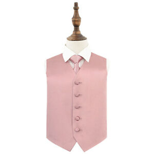 Dusty-Pink-Boys-Waistcoat-Tie-Set-Satin-Plain-Solid-Wedding-Vest-by-DQT