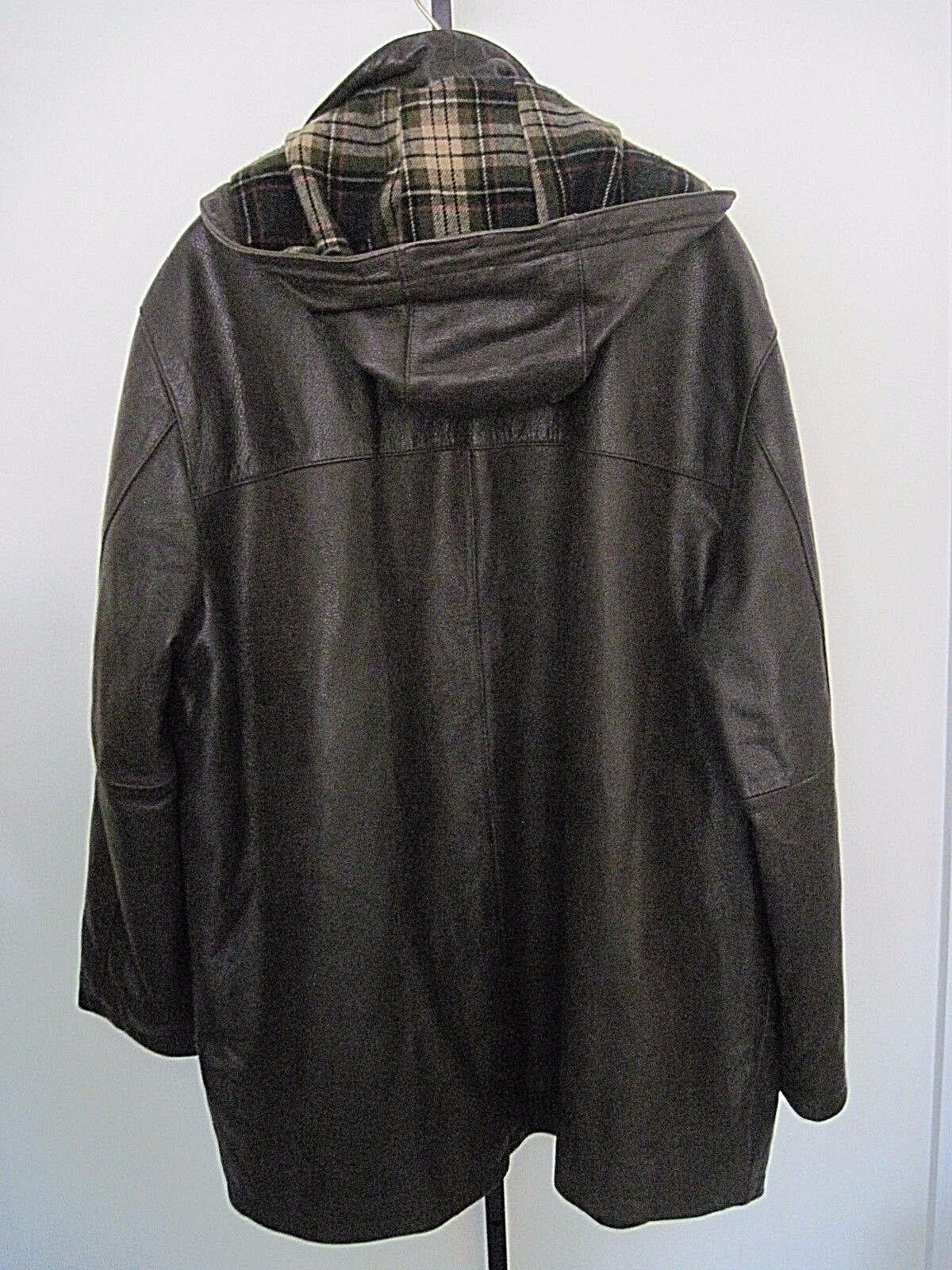 Roundtree & Yorke marrone Pelle Cappotto Cappotto Pelle With Removable Hood Lined Size XL f1ef07