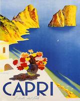 Capri Gulf Of Naples Italy Italian Travel Tourism 16x20 Vintage Poster Free S/h