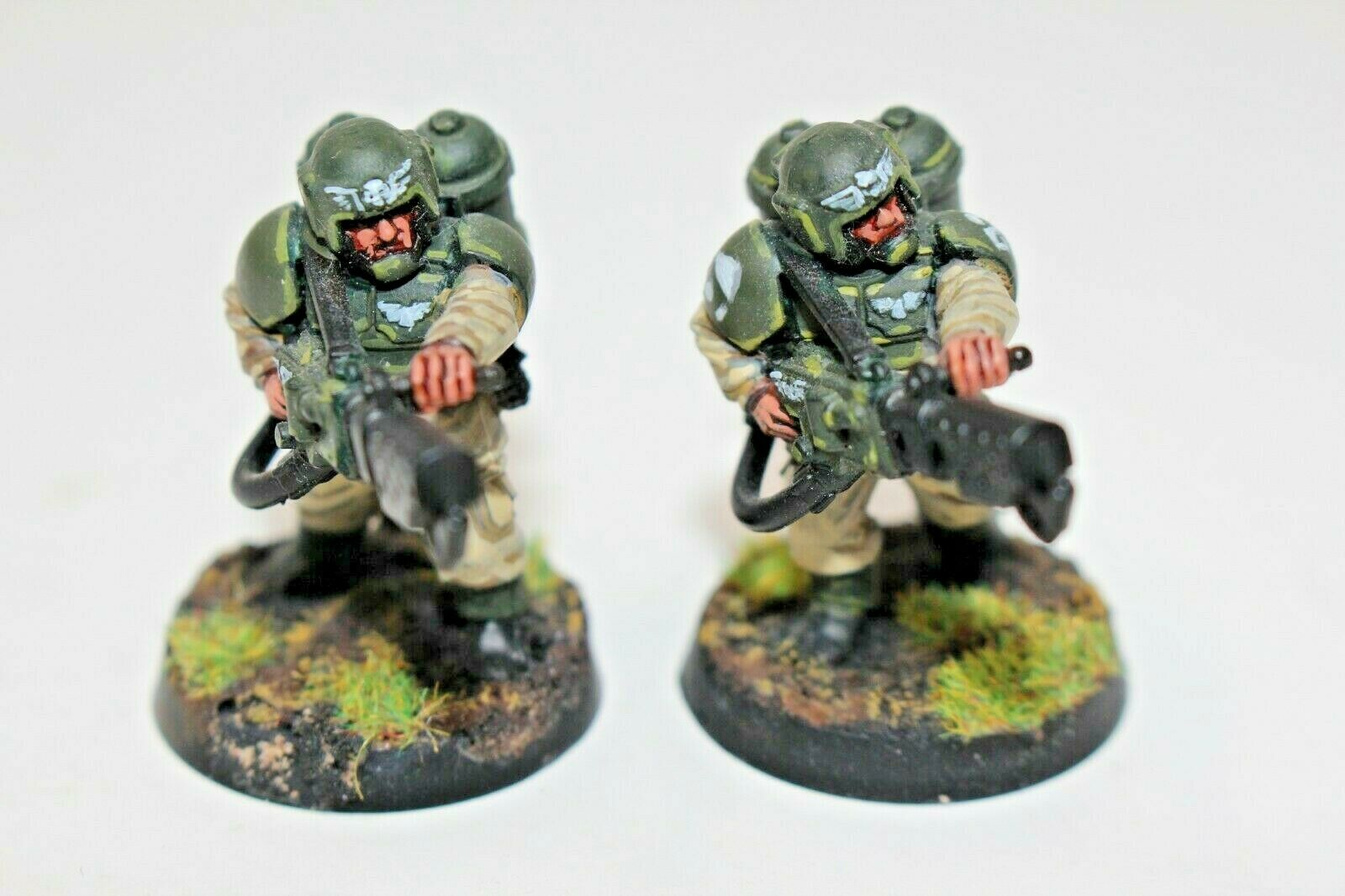 Warhammer Guardia Imperial Cadian con Flamers bien pintados-JYS83