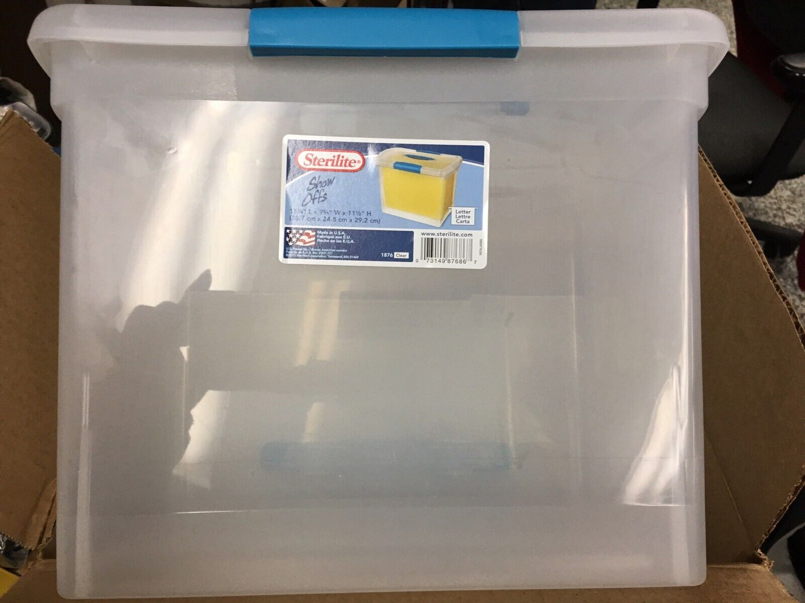 6 Sterilite Clear Large Letter Tote 18768606 15.25 L x 9.75 W x 11.5 H Nesting