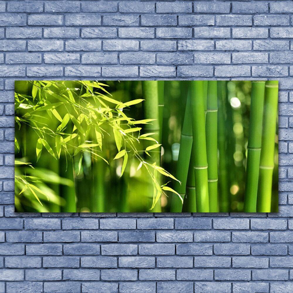 Glas Drucken Wand Kunst 140x70 Image Bild Bamboo Leaves Floral