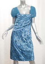 PHILOSOPHY DI ALBERTA FERRETI Womens Blue Satin Beaded Shift Dress 44/8
