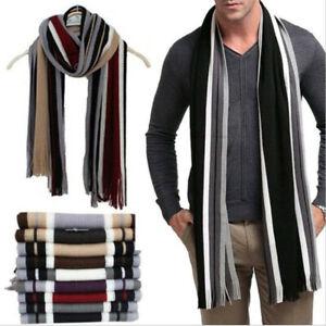 Men/'s Classic Cashmere Shawl Winter Warm Fringe Striped Tassel Wrap Long Scarf