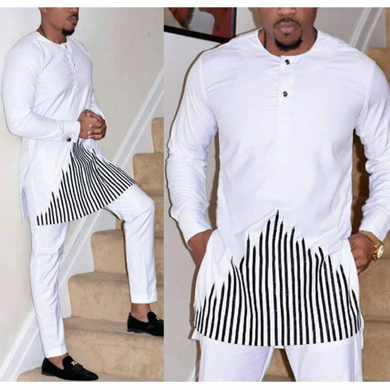 African Dashiki Clothes Men Shirt Pants Set Embroidery Trouser Suit Traditional