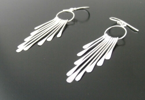 Handmade 925 Sterling Silver Multi Strand Drop Earrings with Flattened Ends