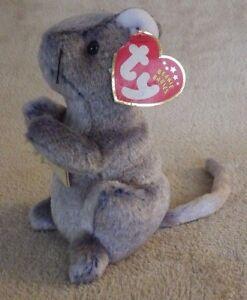 Ty Beanie Babies Cheddar Mouse Plush Bean Bag Stuffed Animal Creased Nwt