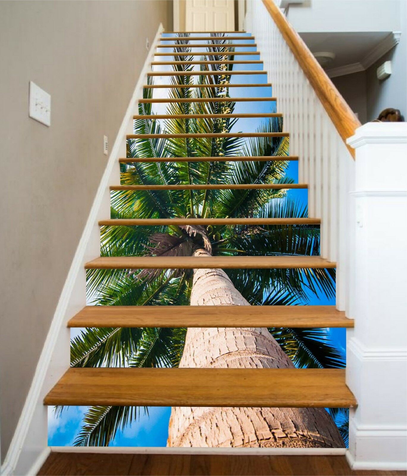3D Kokosnussbaum 23 Stair Risers Dekoration Fototapete Vinyl Aufkleber Tapete DE