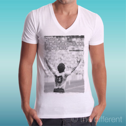 "T-Shirt V Neck /"" Maradona Quote World Argentina /"" Road to Happiness"
