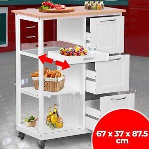 Küchenwagen Rollwagen Küchentrolley Servierwagen Beistellwagen Antik Holz Weiß