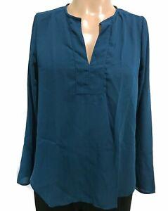 Lyss-Loo-Long-Sleeve-Blouse-Top-Womens-Size-Medium-6-8-Blue