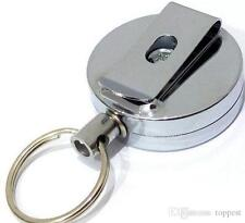 Steel Retractable Pull Chain ID card Holder Reel Recoil Key Ring Chain Belt Clip