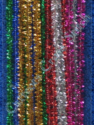 1 of 1 - Pipe Cleaners Christmas Tinsel Chenille Sticks Darice Gold Green Red Blue Silver