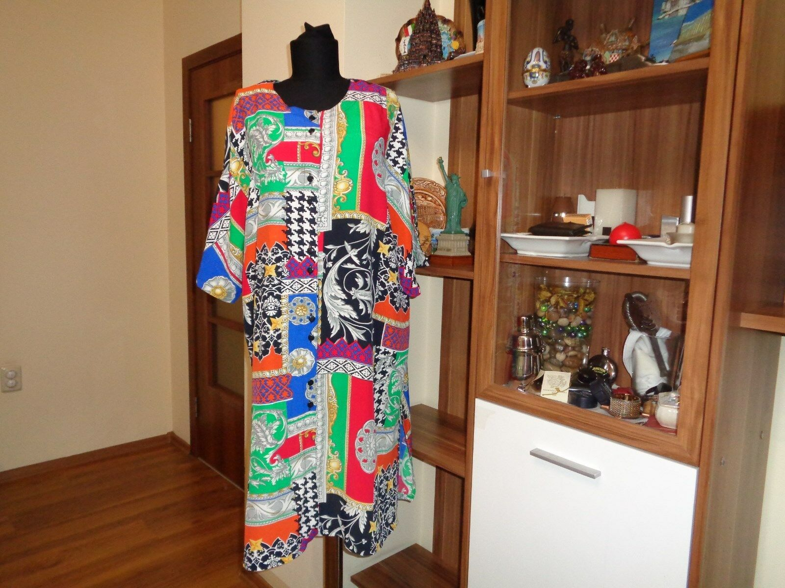 RUBY MADE IN SWITZERLAND VISCOSE BUTTON FRONT MULTICOLOR PRINTED TUNIC DRESS-48