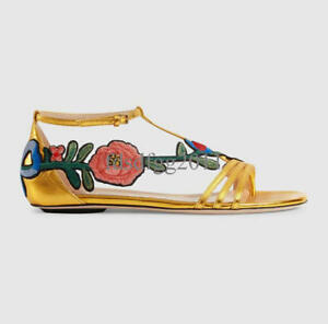 dad8091bb0a 18 Womens Chic Floral Embroidery Ankle Strap Flat Heel Open Toe ...