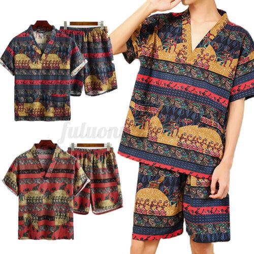 Details about  /Men/'s Summer Floral Printed Pajamas Set Loungewear Night Gown Nightwear Suit Pjs