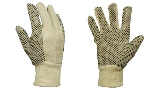 PVC 12 Paar Baumwollhandschuhe//Köper mit schwarzen Noppen Gr.10-XL