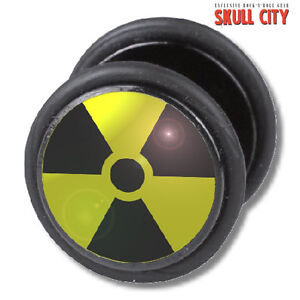 RADIATION-FAKEPLUG-Fake-Piercing-Picture-Plug-Ohrstecker-Atomkraft-Nuclear