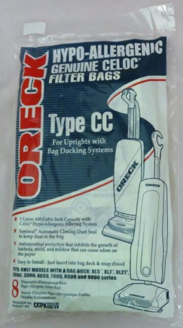 Genuine Oreck Type CC Hypo-Allergenic Filter Bags XL7 (8)