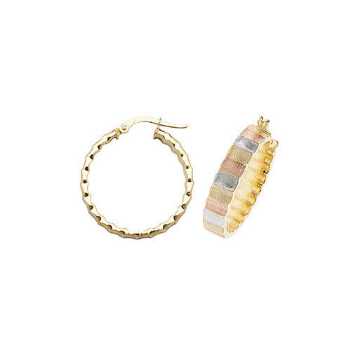 9ct Three Colour gold Ribbed Hoop Earrings - Available 10mm 15mm 20mm 25mm 30mm