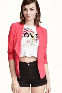 Casual Office Pink 36 10 H Fitted Sz Summer amp;m Coral Jacket Blazer IgPtxwtqW5