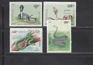 Laos-1992-Snakes-Sc-1078-1081-complete-mint-never-hinged