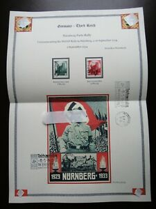 Germany-Nazi-1934-Stamps-Swastika-Sun-Nuremberg-Castle-WWII-Third-Reich-German-D
