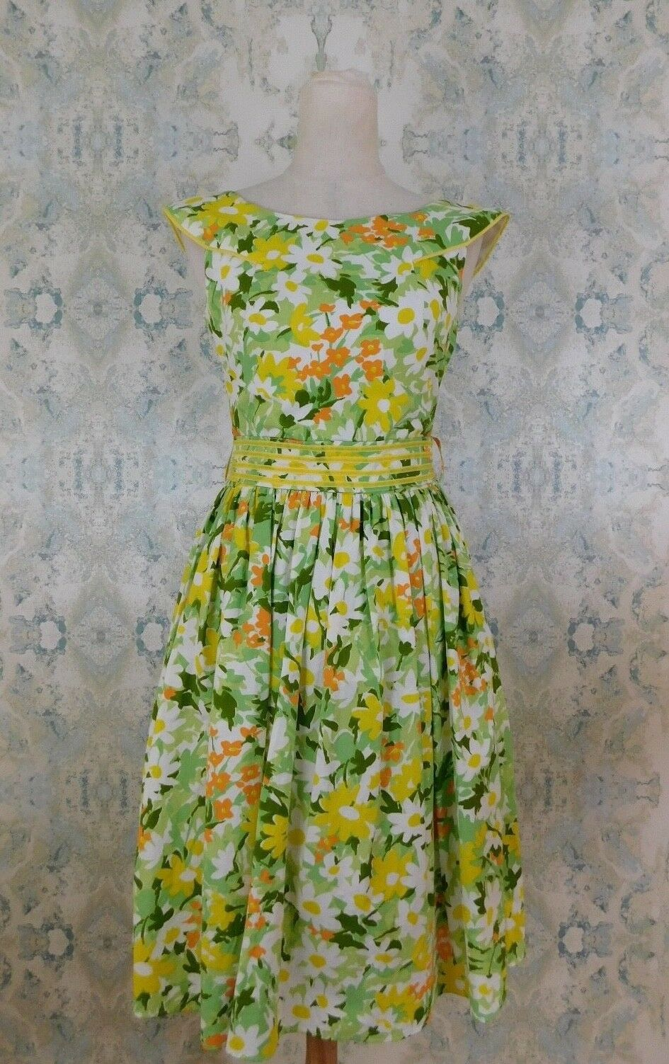 Vintage Louise Hedley Green Yellow Fit & Flare Floral Summer Dress XS