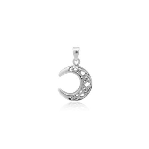 La media luna remolque cadenas real 925 Sterling plata luna filigrana cadenas remolque