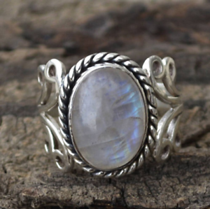 Boho-Tibetan-Natural-Gemstone-Sterling-Silver-Oval-Rainbow-Moonstone-Ring