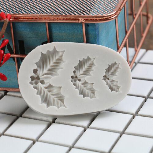 Kuchen Silikonform Weihnachten Holly Fondant Schokoladenplätzchen Candy MouldXUI