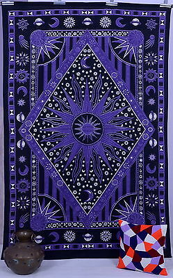 Indian Twin Hippie Celestial Burning Sun Moon Stars Wall Hanging Tapestry Throw