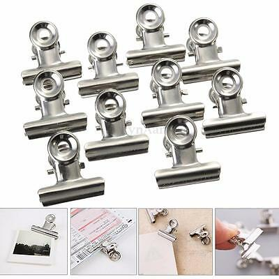 10x Metal 22mm Silver Bulldog Clips Money Letter Paper File Clamps Stationery
