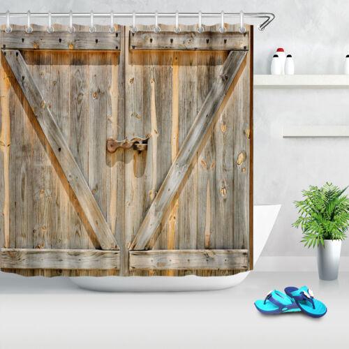 US Rusty Lock Retro Rustic Wood Barn Door Waterproof Fabric Shower Curtain Set