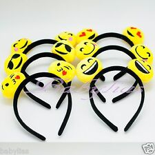 12 Emoji Headbands Emotion Ears Happy Face Party Favors Hat Supplies Hair