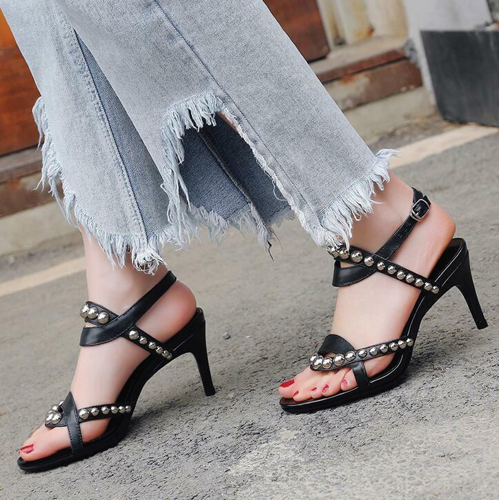 2019 New Occident Fashion Leather Slingbacks Womens Sexy Stilettos Sandals shoes