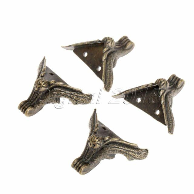 4x Jewelry Chest Gift Box Wood-Case Decorative Feet Leg Corner Protector GuardS!