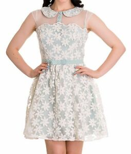 New-Vintage-Mint-Green-Floral-Dress-XS-S-M-L-Spring-Tea-Rockabilly-Hellbunny