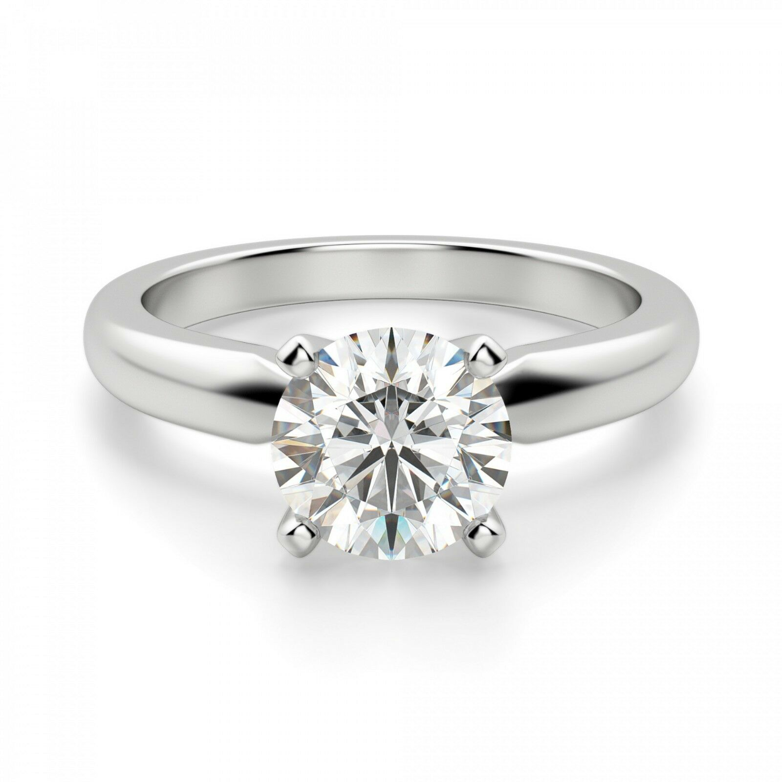 Real 14K White gold Rings 2.00 Ct Round Solitaire Moissanite Engagement Ring 010