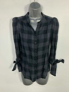 WOMENS-FRENCH-CONNECTION-SIZE-UK-6-BLUE-CHECK-3-4-TIE-SLEEVE-SHIRT-BLOUSE-TOP