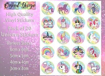 20 x Unicorn Stickers Self Adhesive Vinyl Sticker Unicorns Magic Reward C386