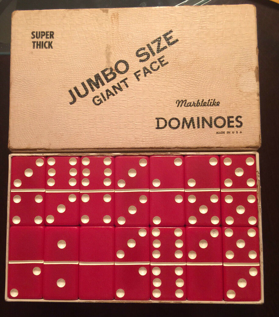 Full Set of RED Marblelike Dominoes Dominoes Dominoes - Puremco Mfg Co, Waco TX f91e63