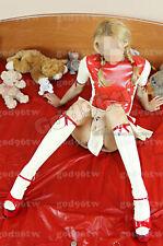 100% Latex Rubber Gummi Dress 0.45mm Skirt Party Catsuit Suit Uniform With Trim