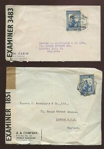 PORTUGUESE-EAST-AFRICA-WW2-1941-2-CENSOR-COVERS-MOZAMBIQUE-to-LONDON