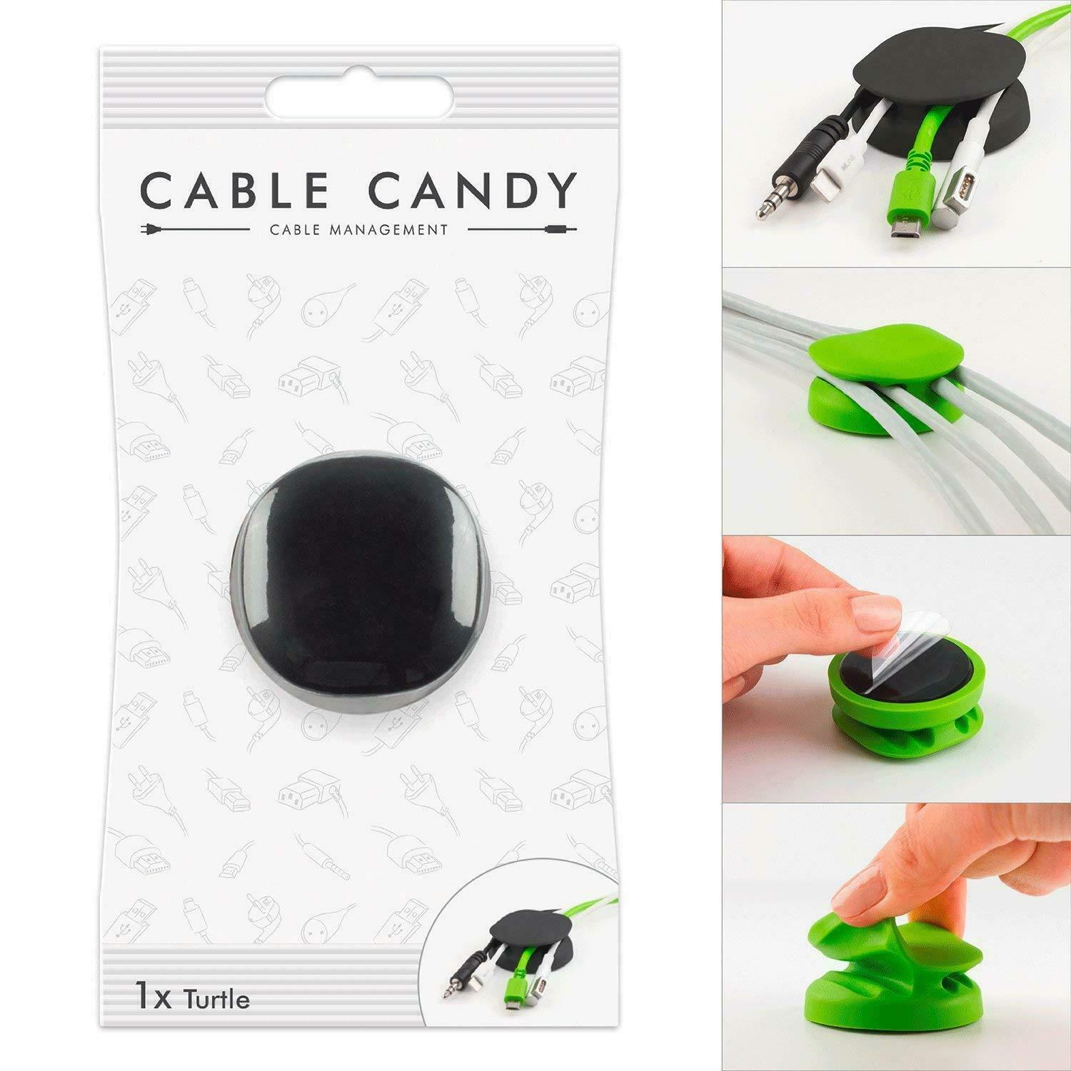 Cable Candy Cable Holder and Cable Guide Organizer For Untangled Wires - Black