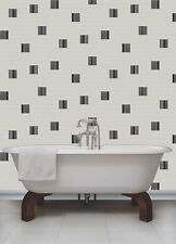 Black, Grey, White & Silver, Tiling Effect, Rubik Wallpaper by Holden Decor