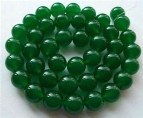 """6MM 8MM 10MM 12MM Natural Green Jade Emerald Round Gems Loose Beads 15/""""AAA"""